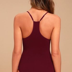 Free People Tops - FREE PEOPLE MOVE ALONG BURGUNDY BODYSUIT NEW M/L